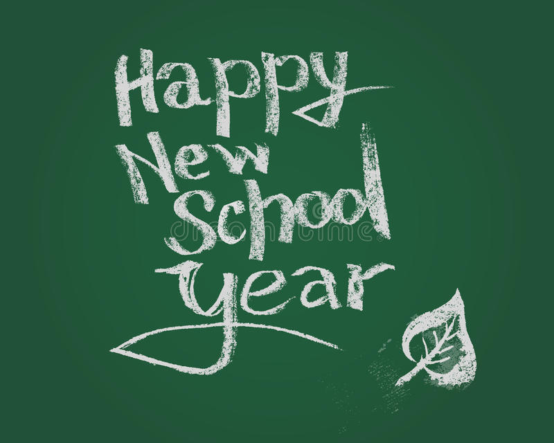 Happy new school year. Vector chalk text on green blackboard. Happy new school year. Vector hand drawn lettering. Hand drawn design elements vector illustration