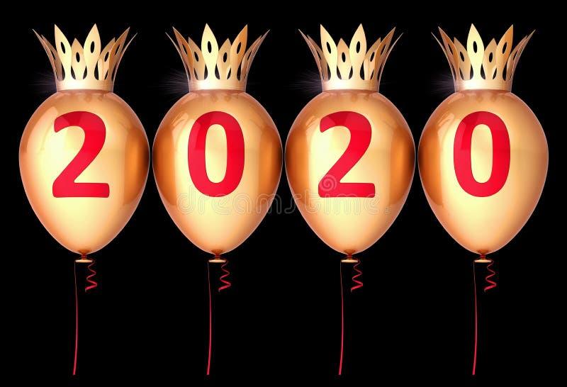 Happy New Year Ära 2020 Hintergrund Party Ballons mit Krone lizenzfreie abbildung