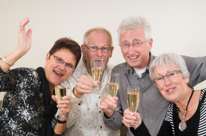 Happy New Year. Two senior couples toasting on a Happy New Year royalty free stock photos
