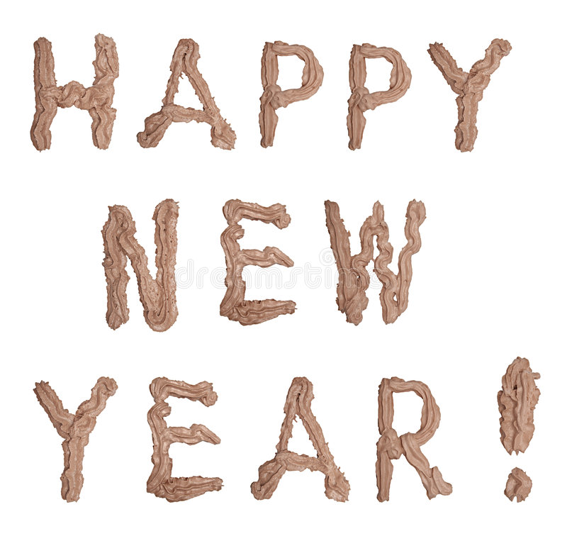Happy New Year. Written by chocolate cream stock photo