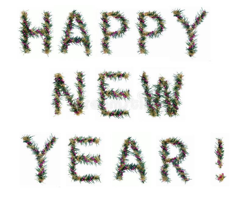 Happy new year. Written by decorative letters stock images