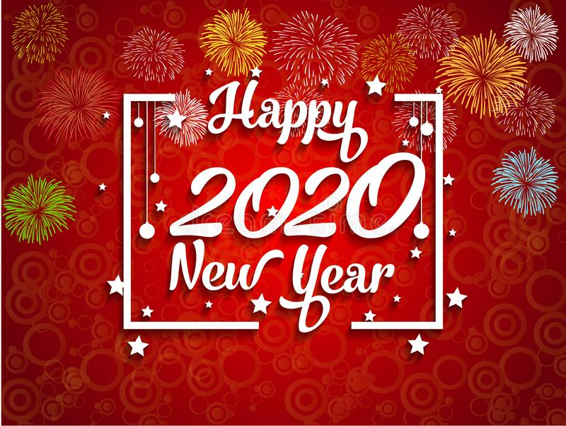 Happy New Year 2020 with firework background. Vector royalty free illustration