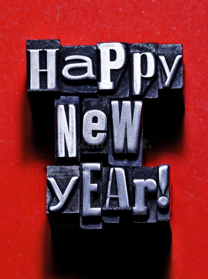 Happy new year. Made from letterpress royalty free stock image