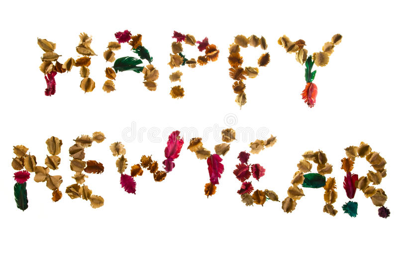 Happy New Year. Text set by mixture of dried floral stock photo