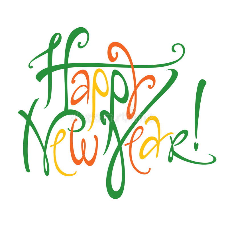 Happy New Year. Vector colorful inscription Happy New Year holiday stock illustration