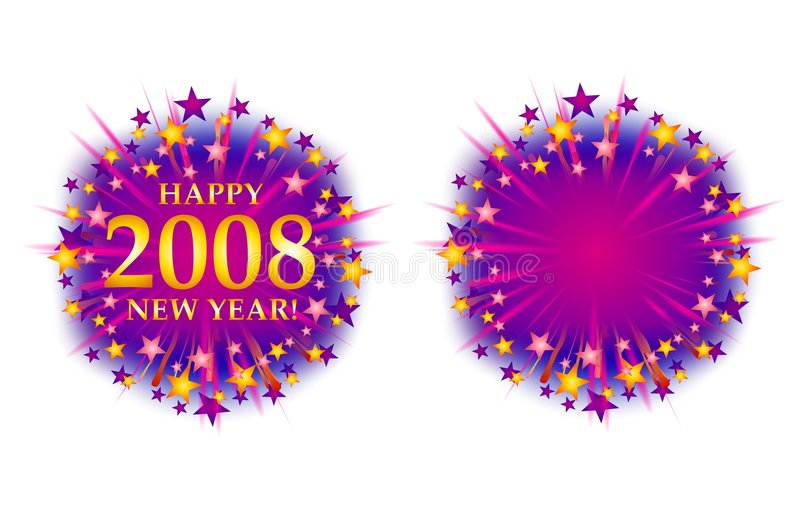 Happy New Year 2008 Fireworks Logo 2 vector illustration