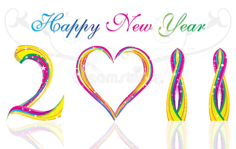 Download Happy New Year 2011  Colorful Wave & Heart Concept Stock Vector - Image: 15724225