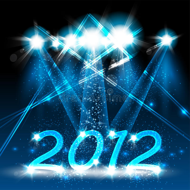 Happy new year 2012. Neon stage design royalty free illustration