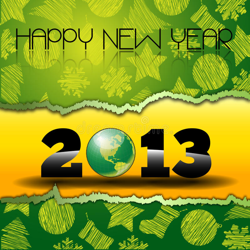 Download Happy New Year 2013 With Green World Globe Stock Image - Image: 27949407