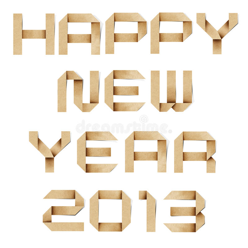 Happy new year 2013 recycled papercraft. stock photography