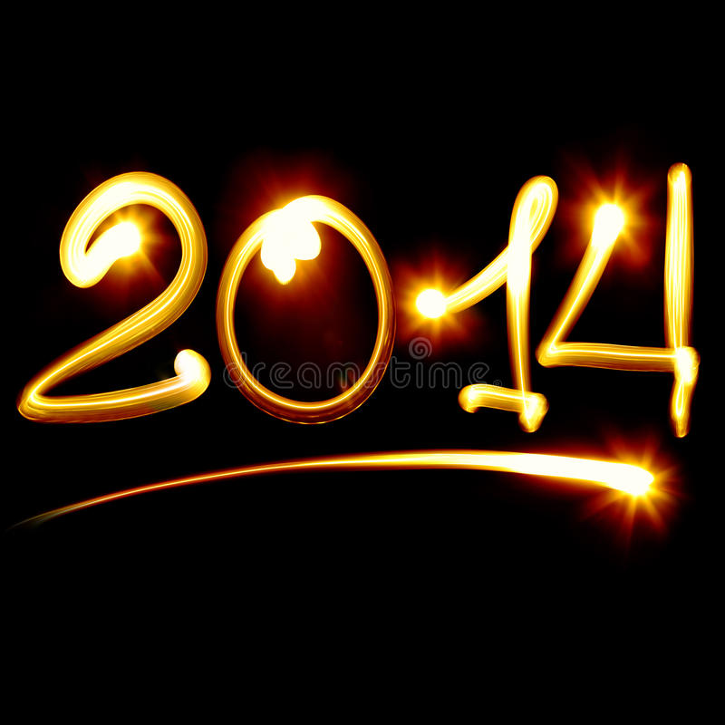 Happy new year 2014. Message over black background stock images
