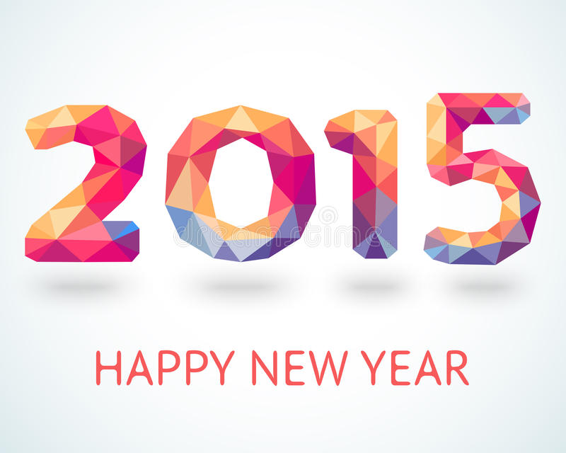 Happy New Year 2015 colorful greeting card royalty free illustration