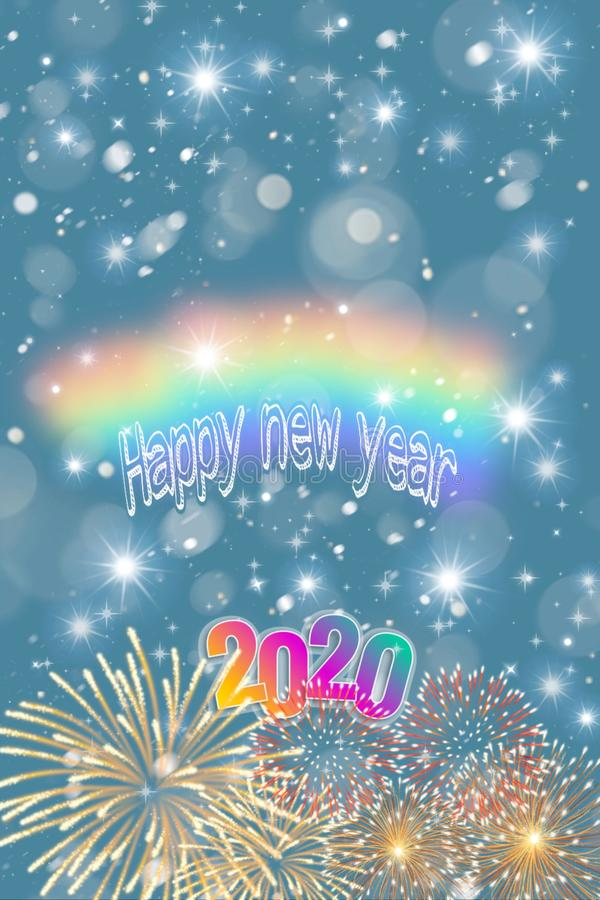 Free Happy New Year 2020 Card With Bokeh Background Stock Image - 163119751