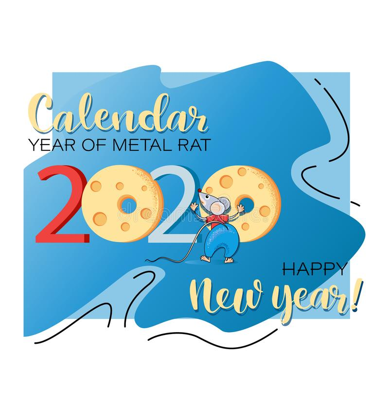 Free Happy New Year. 2020. Funny Rat And Cheese. Royalty Free Stock Image - 155662786