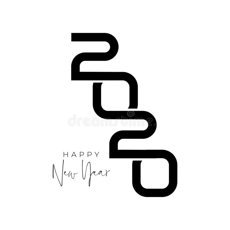 Free Happy New Year 2020 Logo Text Design For Your Seasonal Holidays Flyers, Greetings And Invitations, Christmas Themed Royalty Free Stock Photos - 161080048