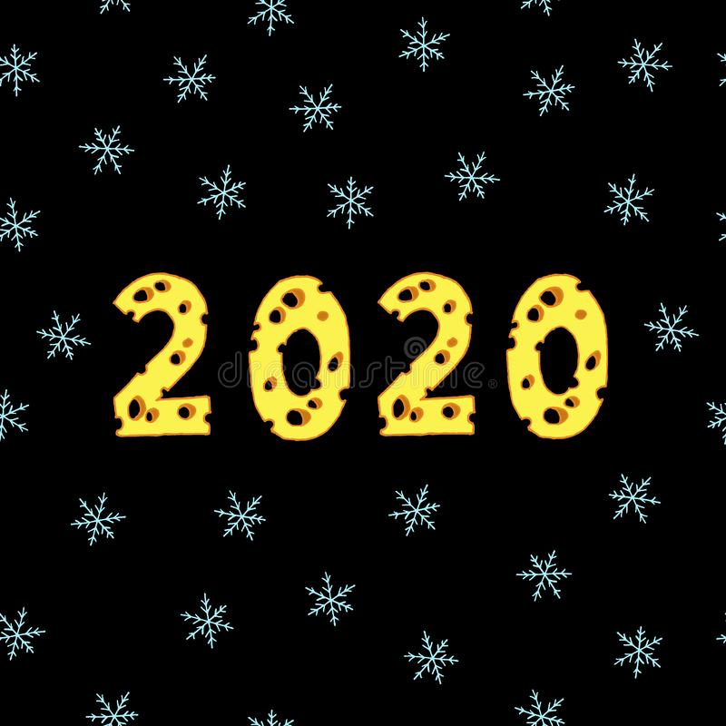 Happy New Year 2020 seamless pattern royalty free illustration
