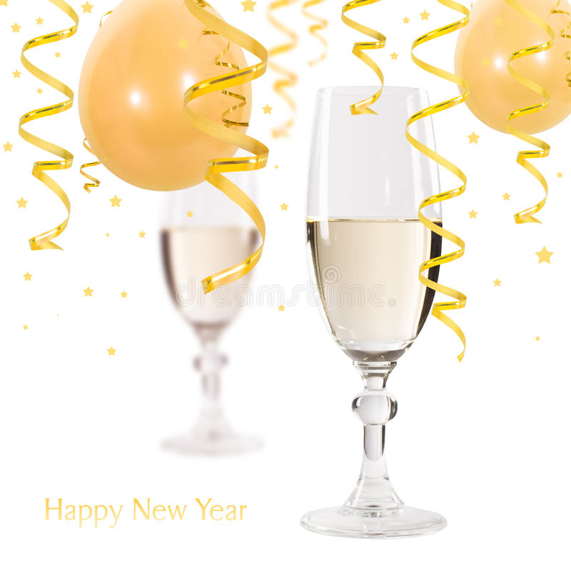 Happy new year. Champagne and serpentine stock photos