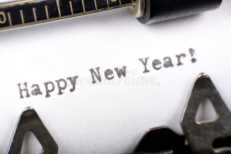 Happy New Year. Typewriter close up shot, concept of Happy New Year stock images