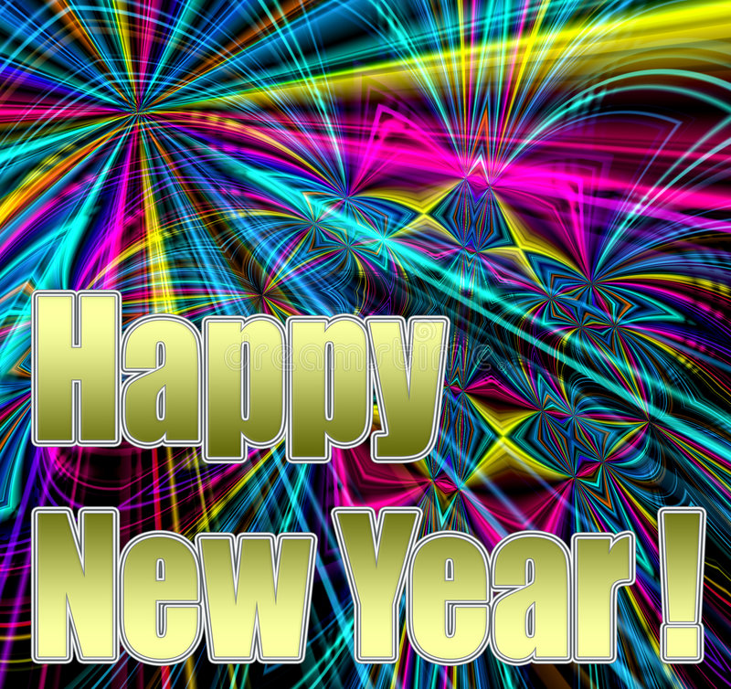Happy New Year!. Happy New Year in gold bold shiny text on a spectacular colorful fireworks abstract background stock illustration