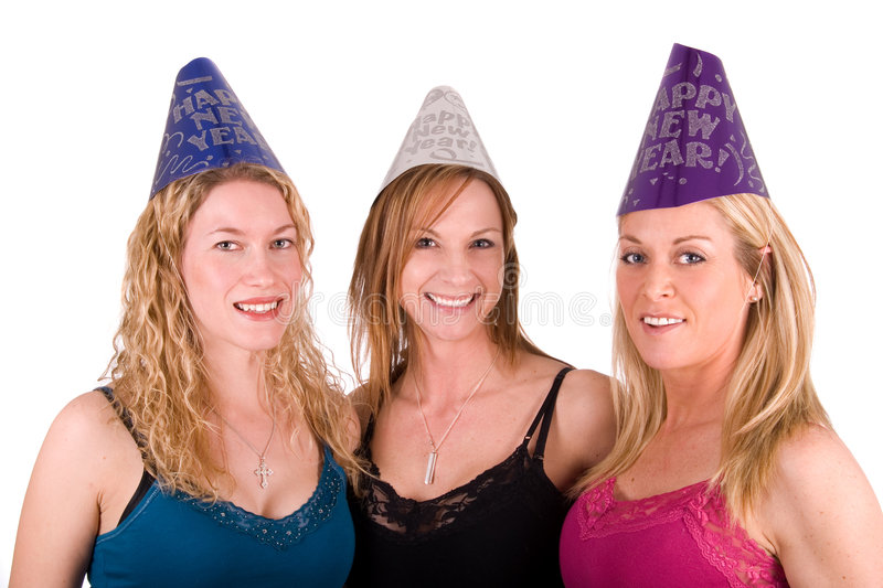 Happy New Year!. Three friends wearing Happy New Year hats. Isolated on white stock images