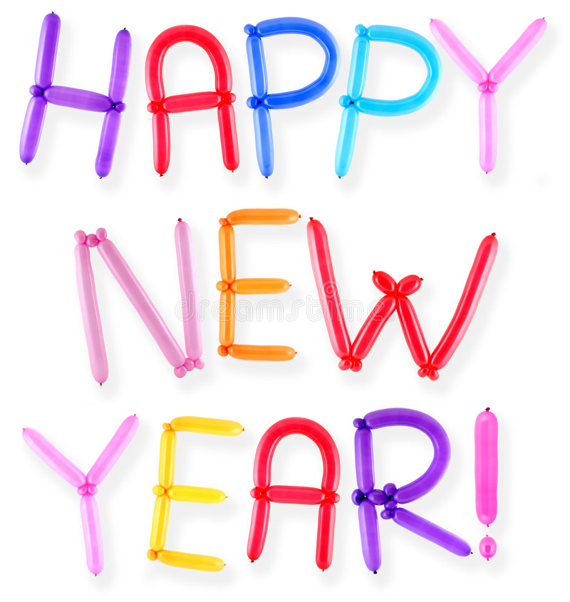 Happy new year. Greeting written with twisted balloon letters stock photo
