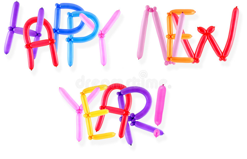 Happy new year. Greeting written with twisted balloon letters royalty free stock images
