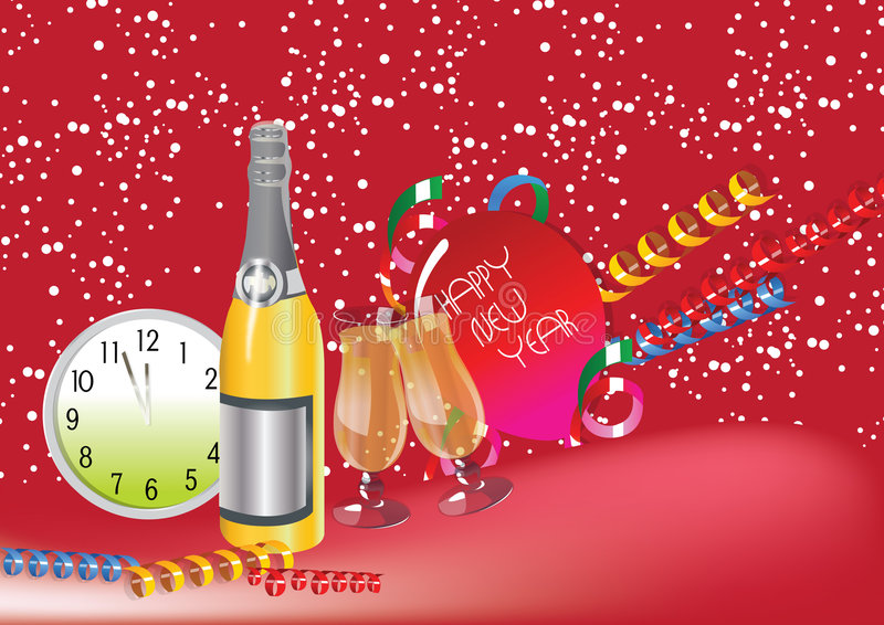 Download HAPPY NEW YEAR stock vector. Image of drink, festive, cheers - 6464371