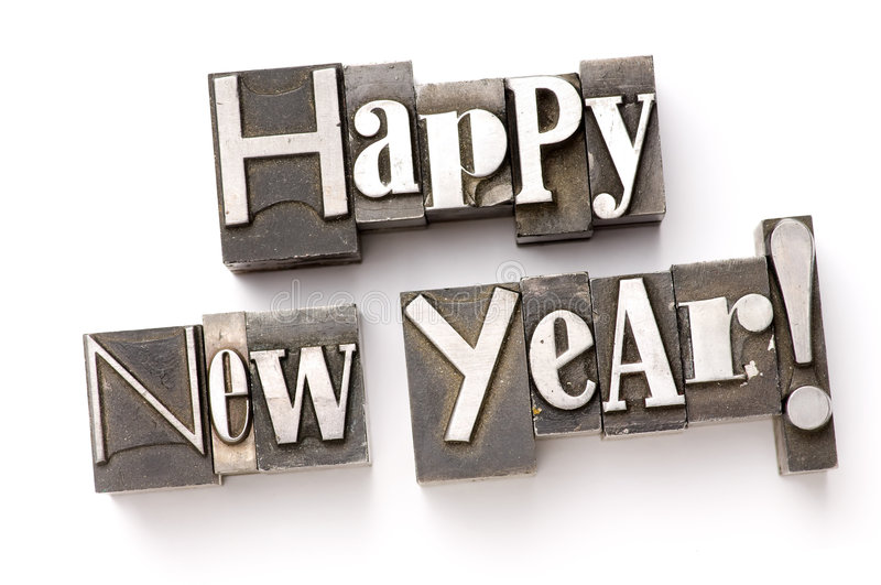 Happy New Year. The words Happy New Year photographed using a mix of vintage letterpress characters stock photography