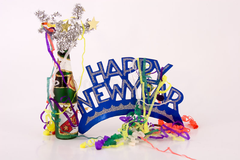 Happy New Year. Holiday, sign, confetti,bottle,celebration,happy,new,year,new years eve, eve,year-end, new year's day,day royalty free stock photos