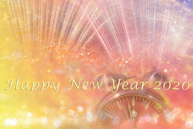 Happy New Year 2020 abstract background concept. Abstract background with words Happy New Year 2020 and clock and bokeh glister and fireworks royalty free stock image