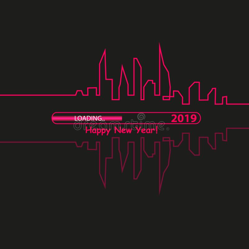 Happy new year 2019 with with an Abstract City Skyline with Loading Bar. Vector. Happy new year 2019 with an Abstract City Skyline with Loading Bar. Vector vector illustration