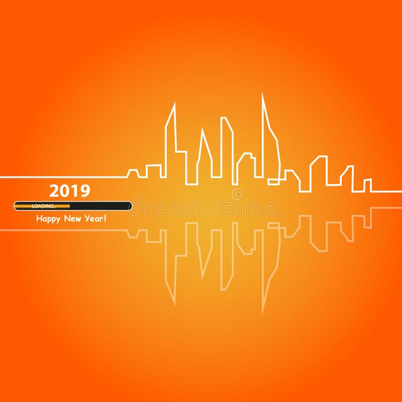 Happy new year 2019 with with an Abstract City Skyline with Loading Bar. Vector. Happy new year 2019 with an Abstract City Skyline with Loading Bar. Vector stock illustration
