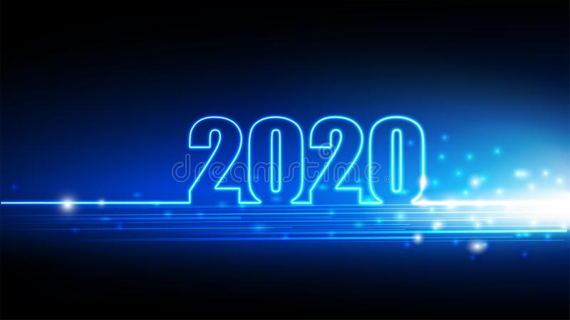 2020 Happy New year with abstract futuristic innovation of digital technology background stock illustration