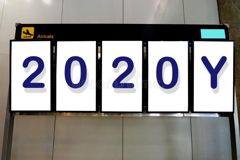Happy new year 2020 on Advertisement billboard. At airport royalty free stock photo