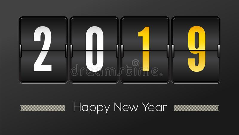 Happy new year 2019. Airport time table with numbers. Flip countdown timer with number of year. Countdown timer royalty free illustration