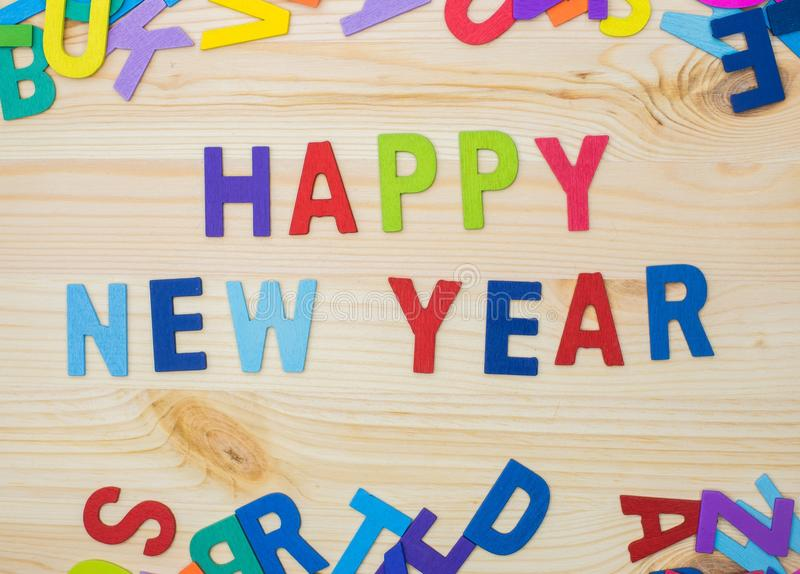 Happy new year alphabet kids. Sort the letters into words, Happy New Year, play alphabet royalty free stock photography