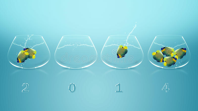 Happy New Year. 2014, angelfish in fishbowl, the same concept available for 2015, 2016 and 2017 year stock image