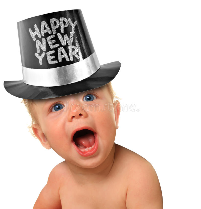 Happy New Year Baby. Shouting Happy New Year baby boy royalty free stock images
