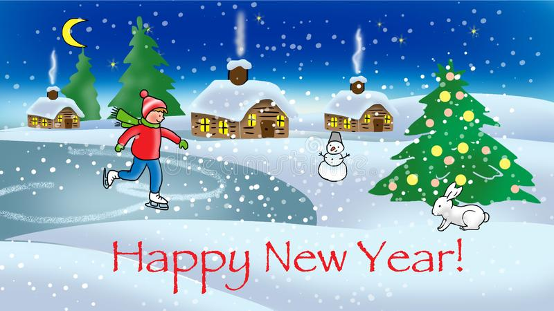 Happy New Year - baby greeting card. Banner stock illustration