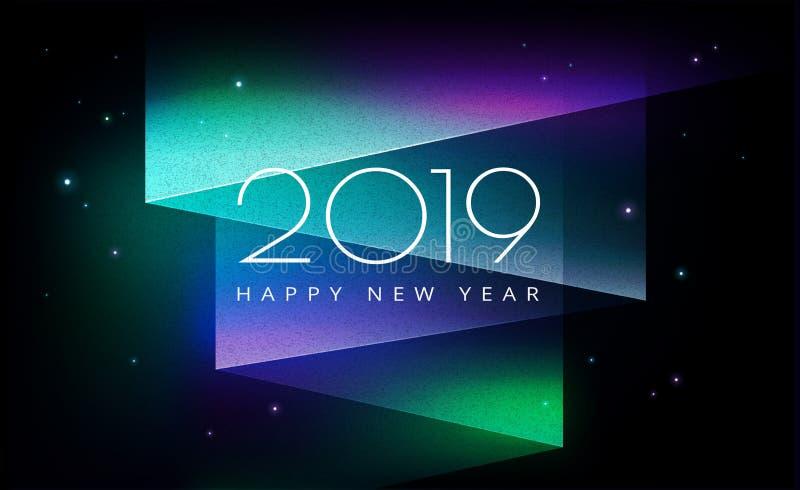 2019 Happy New Year background aurora borealis royalty free illustration