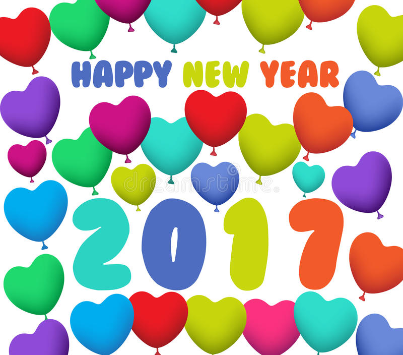 Happy New Year 2017 background with balloons colorful royalty free illustration