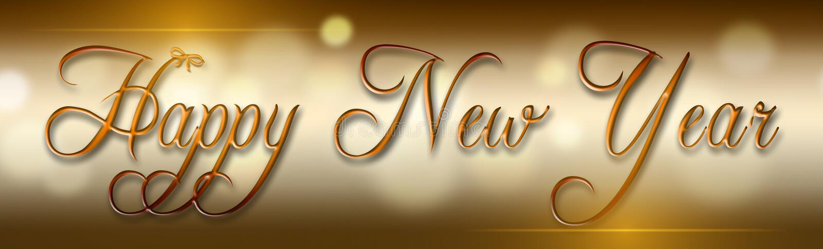Happy new year. Background banner with gold text stock images