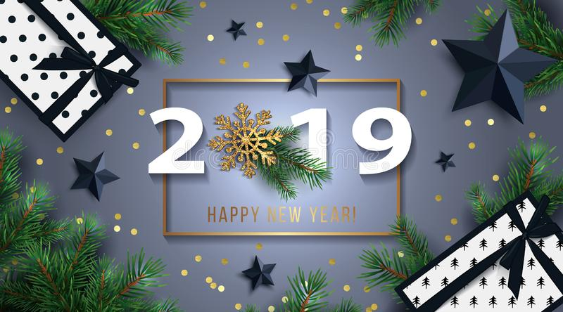 Happy New Year 2019 background with black stars, gifts boxes, shining gold snowflake, and fir branches. stock illustration