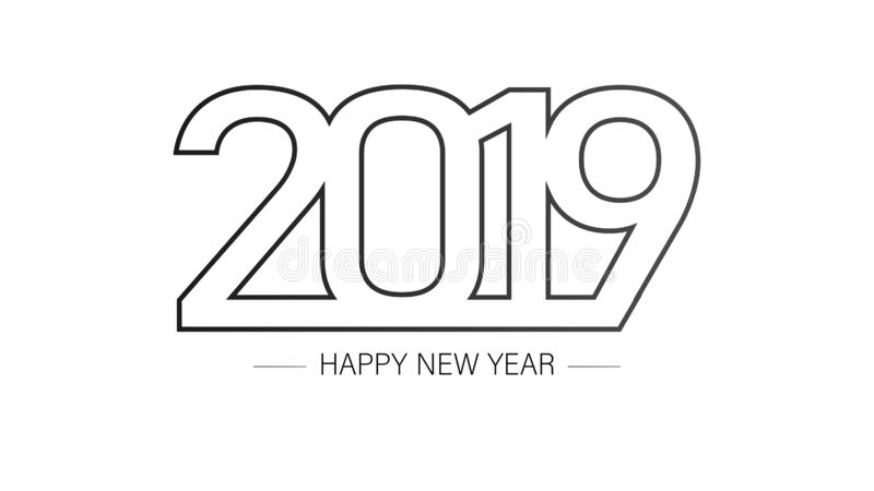 2019 Happy New Year Background with Black and White Colors. royalty free illustration