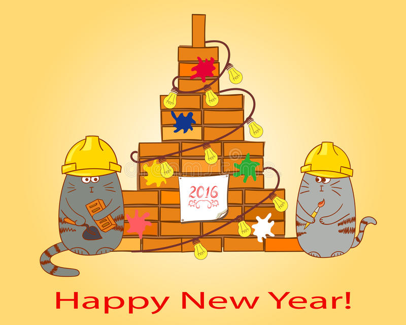 Happy New Year background. Card template. Congratulation to a contraction company. Hand drawn vector illustration vector illustration