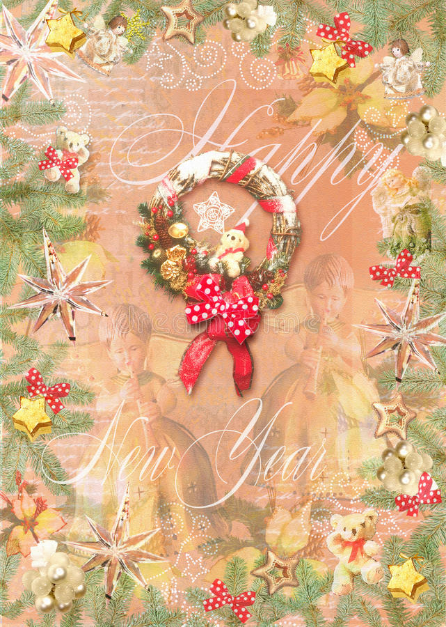 Happy New Year background. Christmas decorations, toys, stars, pine branches, wreath with red bow, angels and fairies. vector illustration