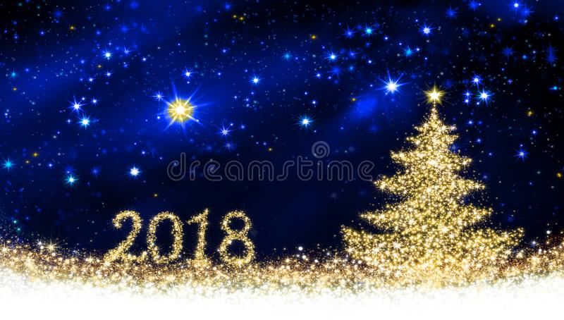 Happy New 2018 Year background with Christmas tree. stock photo