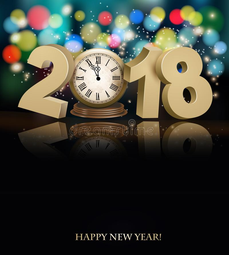 Happy New Year background with 2018, a clock and fireworks. Vector stock illustration