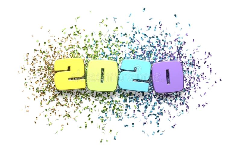Happy new year 2020 illustration. Happy new year 2020 background with confettis royalty free illustration