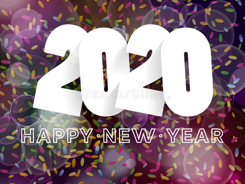 Happy New Year 2020 background decoration. Greeting card design template with confetti stock illustration